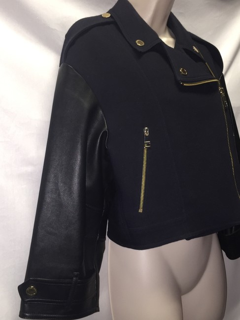 Burberry London Military Asymmetric Wool Leather Coat Moto Motorcycle Jacket