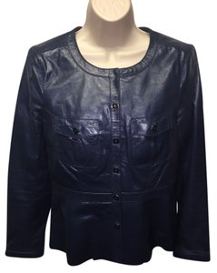 Tory Burch Leather Baltic Blue Leather Jacket