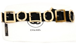 Chanel Chanel Black Elastic Canvas Buckle Choker Necklace with Gold Hardware