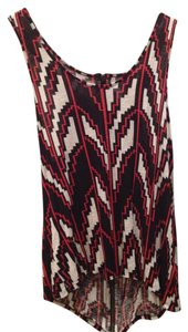 Silence + Noise Aztec Top Red, Black, White pattern