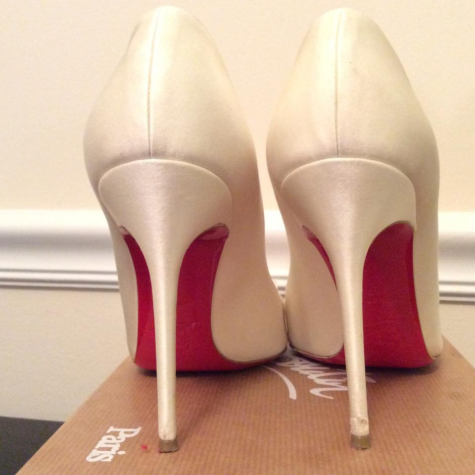 a685759e5f36 Christian Louboutin Red Sole Satin White Pumps Image 11. 123456789101112