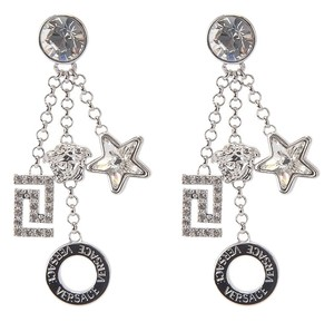 Versace Brand New Versace Silver-Plated Medusa Charms & Crystal Earrings