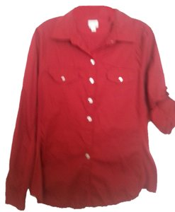 Converse Longsleeve Roll Tab Button Down Shirt Red