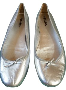 Prada Leather Italy Ballet Flat Silver Flats
