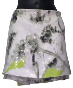 Diane von Furstenberg Mini Sequins Silk Mini Skirt Tree Haze