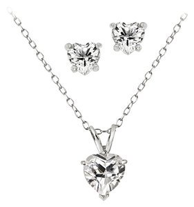 ENDURING JEWELS ENDURING JEWELS CZ Heart Necklace and Earrings SetNecklace and earrings set