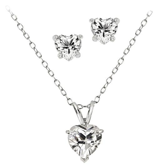 Preload https://img-static.tradesy.com/item/1044744/sterling-silver-cz-heart-and-earrings-setnecklace-and-earrings-set-necklace-0-0-540-540.jpg