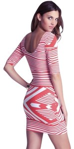 bebe short dress white and coral Bodycon Short on Tradesy