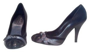 Randolph Duke *leather Upper *velvet & Satin Accents *rounded Toe *rubber Sole Black Pumps