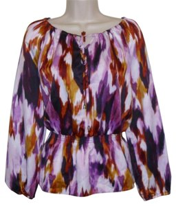 Christopher & Banks Womens Silky Long Sleeve Shirt Small Top Multicolored