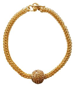 Kenneth Jay Lane Kenneth Jay Lane Pave Crystal Ball Pendant Gold Necklace