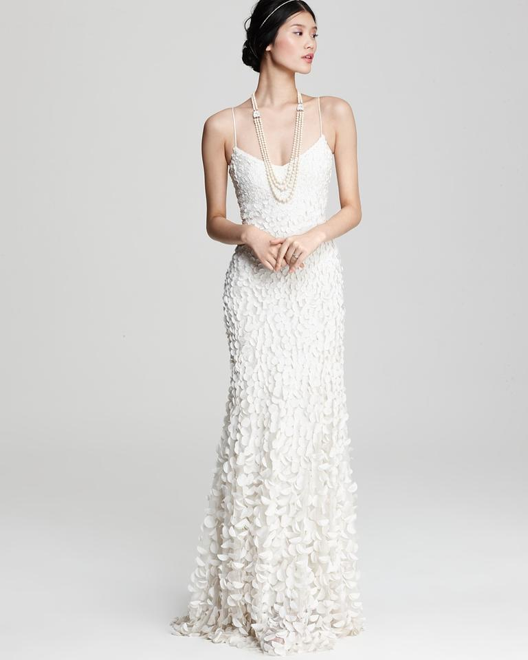 Theia Off-white Crepe Satin Faux Pearl Petal Gown: 880631 Feminine ...