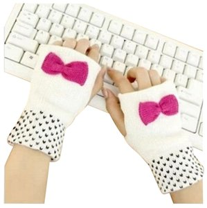 Other White Knit Fingerless Bow and Polka Dot Gloves Free Shipping