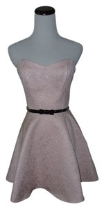 Forever 21 21 Sweetheart Strapless Pink Jacquard Blush Belt Prom Homecoming Dress