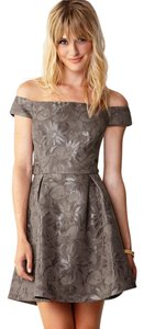 Forever 21 21 Love 21 Collection Off Floral Taupe Gray Jacquard Slate Sweetheart Promp Dress