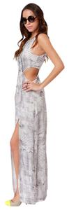 Python Print Maxi Dress by Lulu*s Lush Snake Maxi White Gray Sheer