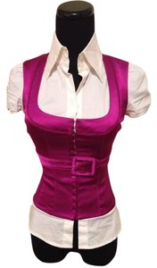 bebe Top Fuchsia / White