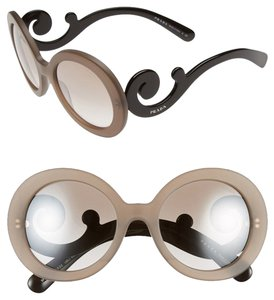 Prada Oversized Baroque 55mm Round Sunglasses Transparent Brown/Brown Silver Mirror Shaded