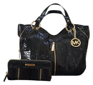 db3437d79d71 Michael Kors Moxley Satchel Embossed Python Exotic Leather Medium Dual  Leather Carry Handles Gold Hardware Hanging