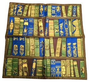 Hermès HERMES Green-Blue Silk Book Print Small Neck/Bag Scarf!