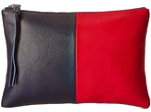 Possé Leather Logo Imported Navy Textured Red Clutch
