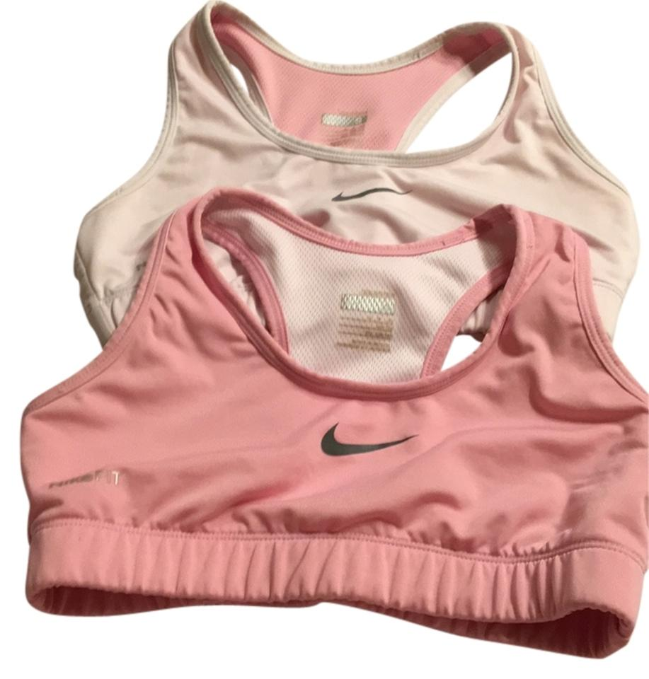df57730ee6 Nike Pink Two Fit White Small Logo Activewear Sports Bra Size 4 (S ...