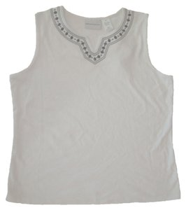 Alfred Dunner Cotton Knit Beaded Embellishment Sleeveless Hand Wash Split Neckline Top White