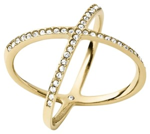 Michael Kors Michael Kors Gold-Tone Pave Clear Crystal X Ring