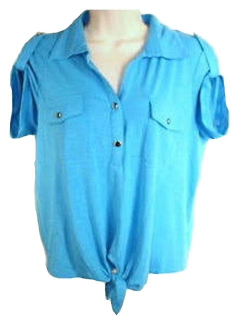 New York & Company Easy Fit Hits At Waist Point Collar Self-ties At Hem Short Sleeve Top Blue