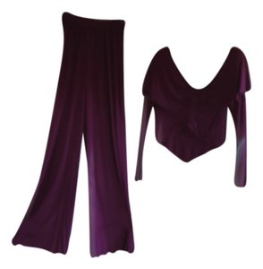 Holly Harp Holly Harp Design Holly's Harp 2 piece Palazzo Pant & Peplum style deep V neck top Fuscia Medium 1980's Evening wear paid over one thousand