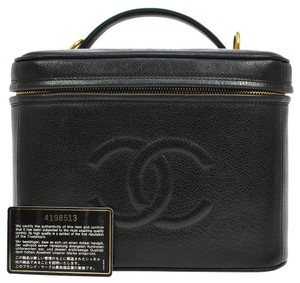 Chanel Auth CHANEL CC Cosmetic Vanity Hand Bag Black Caviar Skin Leather Vintage R10606