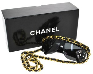 Chanel Auth CHANEL CC Logo Chain Sunglasses Eye Wear Black Plastic Metal Vintage G01092
