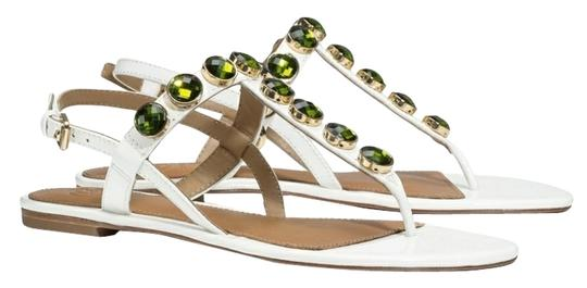 Preload https://item1.tradesy.com/images/tory-burch-white-and-green-mariah-thong-sandal-patent-leather-flats-size-us-65-regular-m-b-10455955-0-1.jpg?width=440&height=440