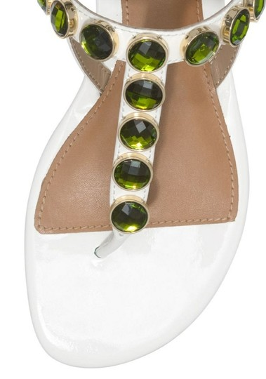 Tory Burch Mariah Falt Thong Sandal Patent Leather Ivory New Dustbagm\ White & Green Flats