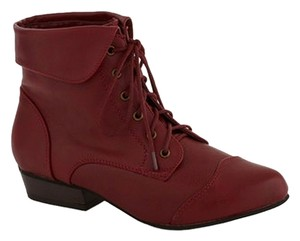 Breckelle's Small Heel Ankle Front Lace Closure red Boots