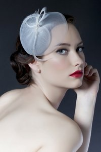 Sara Gabriel Veiling & Headpieces Designer Ribbon Fascinator Hat With Feathers And Crystals