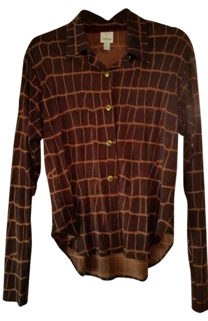 Preload https://item5.tradesy.com/images/todd-oldham-brown-print-silk-shirt-button-down-top-size-12-l-10457404-0-1.jpg?width=400&height=650