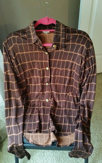 Todd Oldham Silk Classic Vintage Fitted Stretchy Button Down Shirt Brown Print