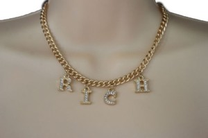 Other Women Gold Metal Chain Short Necklace Fashion Jewelry Rich Letters Pendant