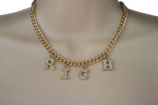 Preload https://img-static.tradesy.com/item/10457938/women-gold-metal-chain-short-necklace-fashion-jewelry-rich-letters-pendant-0-0-540-540.jpg