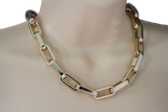 Other Women Gold Short Necklace Plastic Chain Square Links Fashion Jewelry Lightweight