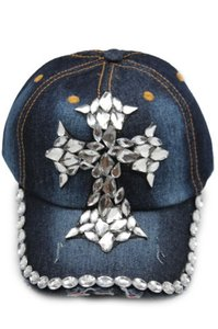 Other Women Blue Denim Fashion Baseball Cap One Hat Silver Big Cross Beads Bling