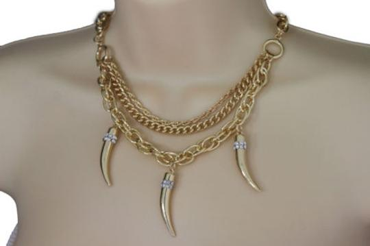Preload https://item1.tradesy.com/images/women-gold-necklace-metal-multi-chain-link-long-horn-spike-fashion-jewelry-charm-10458025-0-0.jpg?width=440&height=440