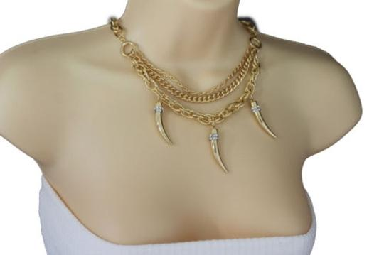 Other Women Gold Necklace Metal Multi Chain Link Long Horn Spike Fashion Jewelry Charm
