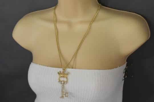 Other Women Gold Long Necklace Metal Chains King Crown Queen Key Fashion Jewelry Charm