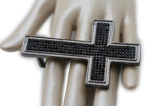 Other Women Knuckle Ring Fashion Jewelry Black Metal Big Wide Cross Middle Hand Finger