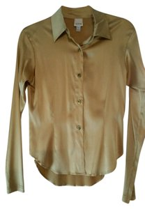 Todd Oldham Silk Classic Fitted Stretchy Button Down Shirt Gold