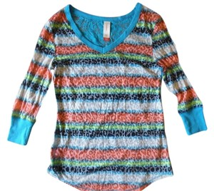 No Boundaries Sheer Lace Back Animal Print Top Teal Blue, Green, Purple, Red