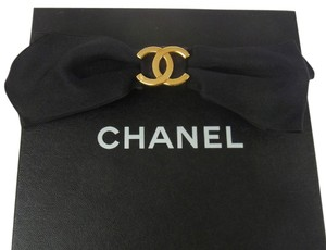 Chanel Auth CHANEL Vintage CC Logos Ribbon Motif Hair Barrette Black France AK05960