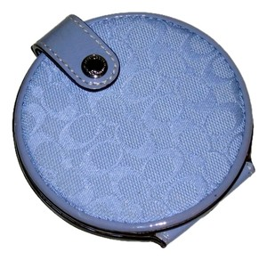 Coach COACH Purple Signature Round 2-Sided Compact Mirror w/Snap Closure